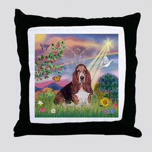Cloud Angel & Basset Throw Pillow
