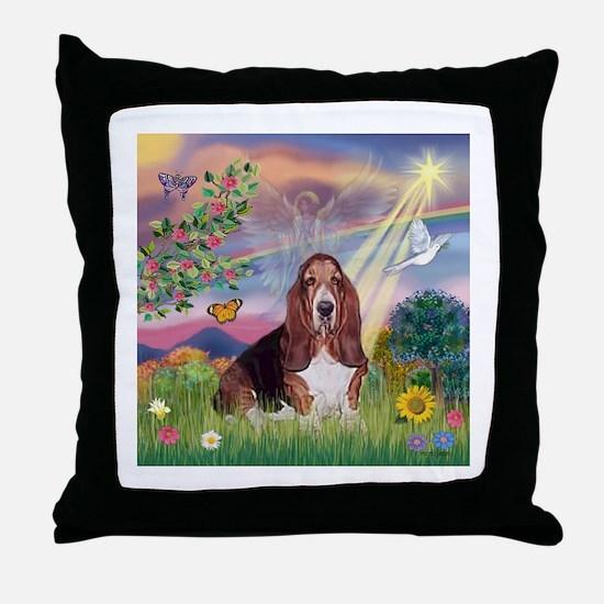 Cloud Angel & Basset Throw Pillow