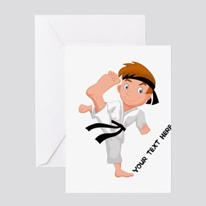 PERSONALIZED KARATE BOY Greeting Cards