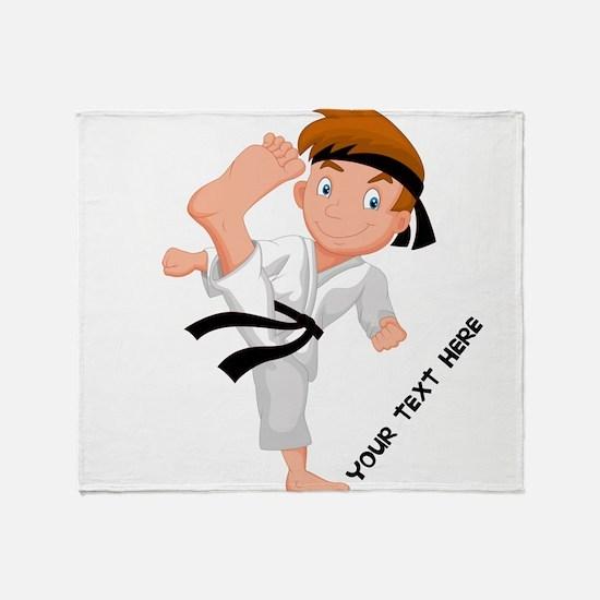 PERSONALIZED KARATE BOY Throw Blanket