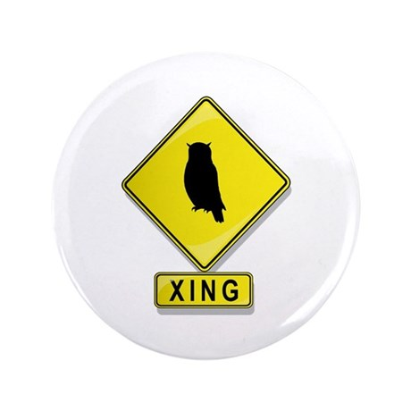 "Owl XING 3.5"" Button (100 pack)"