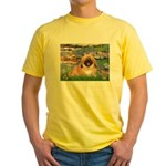 Lilies / Pekingese(r&w) Yellow T-Shirt