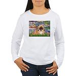 Lilies / Pekingese(r&w) Women's Long Sleeve T-Shir