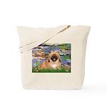 Lilies / Pekingese(r&w) Tote Bag
