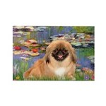 Lilies / Pekingese(r&w) Rectangle Magnet (10 pack)