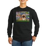 Lilies / Pekingese(r&w) Long Sleeve Dark T-Shirt
