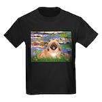 Lilies / Pekingese(r&w) Kids Dark T-Shirt