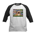 Lilies / Pekingese(r&w) Kids Baseball Jersey