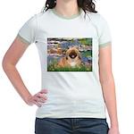 Lilies / Pekingese(r&w) Jr. Ringer T-Shirt