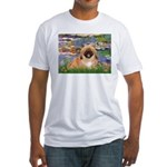 Lilies / Pekingese(r&w) Fitted T-Shirt