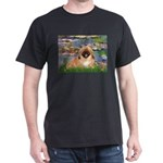 Lilies / Pekingese(r&w) Dark T-Shirt