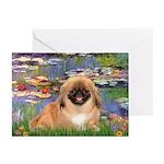 Lilies / Pekingese(r&w) Greeting Cards (Pk of 10)