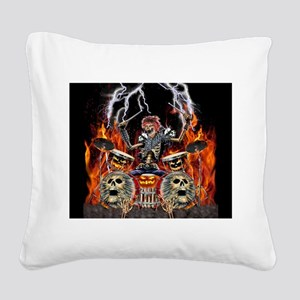 HEAVY METAL ZOMBIE DRUMMER Square Canvas Pillow