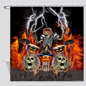 HEAVY METAL ZOMBIE DRUMMER Shower Curtain