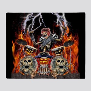 HEAVY METAL ZOMBIE DRUMMER Throw Blanket