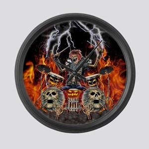 HEAVY METAL ZOMBIE DRUMMER Large Wall Clock