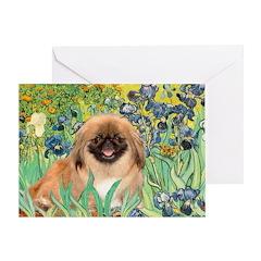 Irises / Pekingese(r&w) Greeting Card