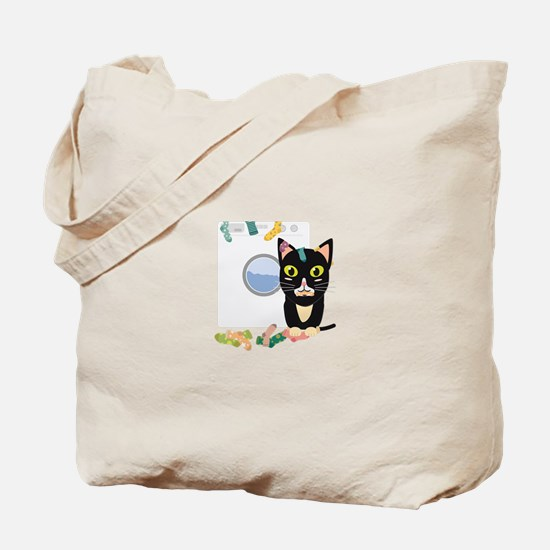 Cat with washing machine Tote Bag