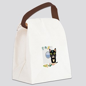 Cat with washing machine Canvas Lunch Bag
