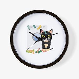 Cat with washing machine Wall Clock