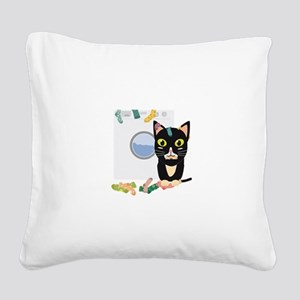 Cat with washing machine Square Canvas Pillow