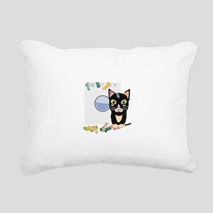 Cat with washing machine Rectangular Canvas Pillow