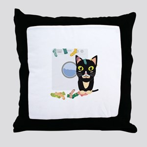 Cat with washing machine Throw Pillow
