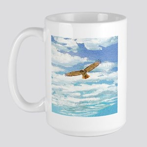 Red Tail Hawk in the Clouds Large Mug