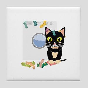 Cat with washing machine Tile Coaster