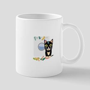 Cat with washing machine Mugs