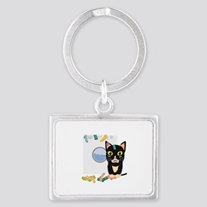 Cat with washing machine Keychains