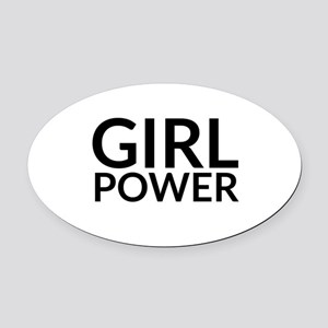 Girl Power Oval Car Magnet