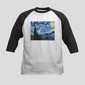The Starry Night by Vincent V Kids Baseball Jersey