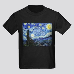 The Starry Night by Vincent Van Kids Dark T-Shirt