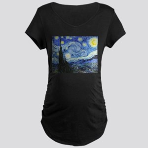 The Starry Night by Vincent Maternity Dark T-Shirt