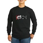 Frown Emoticon - Christmas Coal Long Sleeve Dark T