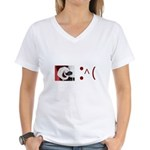 Frown Emoticon - Christmas Coal Women's V-Neck T-S