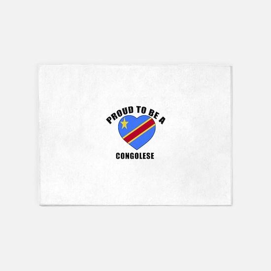 Congolese Patriotic Designs 5'x7'Area Rug