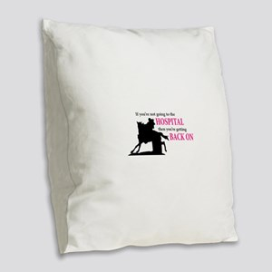 Barrel Racer: Hospital Burlap Throw Pillow