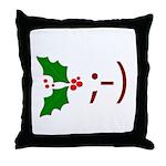 Wink Emoticon - Mistletoe Throw Pillow