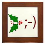 Wink Emoticon - Mistletoe Framed Tile