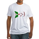 Wink Emoticon - Mistletoe Fitted T-Shirt