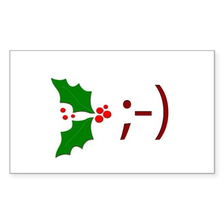 Wink Emoticon - Mistletoe Rectangle Sticker