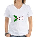 Wink Emoticon - Mistletoe Women's V-Neck T-Shirt