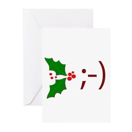 Wink Emoticon - Mistletoe Greeting Cards (Pk of 10