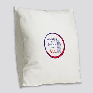 Liberty and Justice for All Burlap Throw Pillow