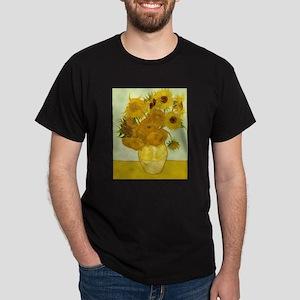 Vase with Twelve Sunflowers by Vincen Dark T-Shirt
