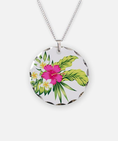 Pink Hibiscus Tropical Flowe Necklace