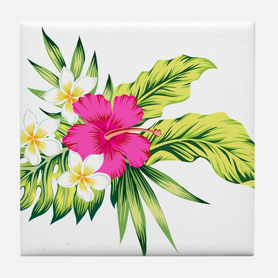 Pink Hibiscus Tropical Flowers Tile Coaster