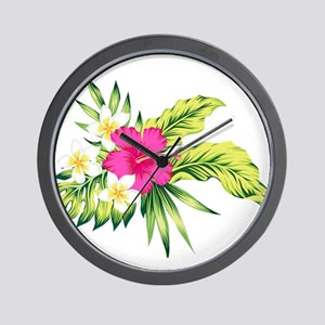 Pink Hibiscus Tropical Flowers Wall Clock